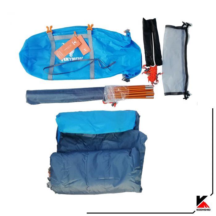 محتویات بسته بندی چادر کوهنوردی کله گاوی دو سه نفره مدل C2001. دارای دو تیرک آلومینیومی با وزن 2.5 کیلو گرم.