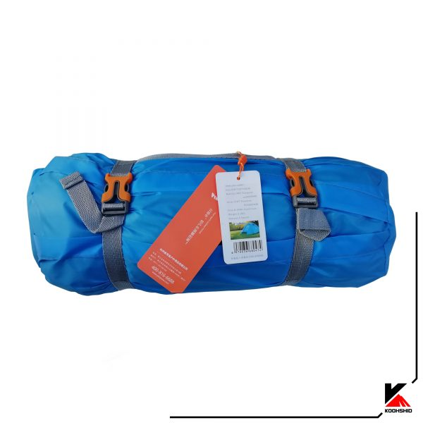 بسته بندی و برند چادر کوهنوردی کله گاوی دو سه نفره مدل C2001. دارای دو تیرک آلومینیومی با وزن 2.5 کیلو گرم. رنگ آبی