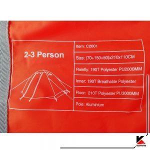چادر2-3 نفره کله گاوی مدل c2001. ابعاد و مشخصات چادر.