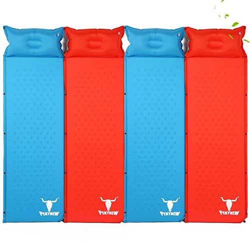 تشک بادی و زیرانداز فومی خودبادشو . رنگ آبی و نارنجی .وزن 950 گرم. ابعاد 185*60
