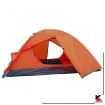 درب جلویی چادر کوهنوردی کله گاوی دو نفره مدل C1001. دارای دو تیرک فایبر گلاس با وزن 2.5 کیلو گرم. رنگ نارنجی