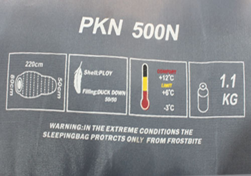 ویژگی های درج شده روی کیسه خواب کله گاوی مدل 500