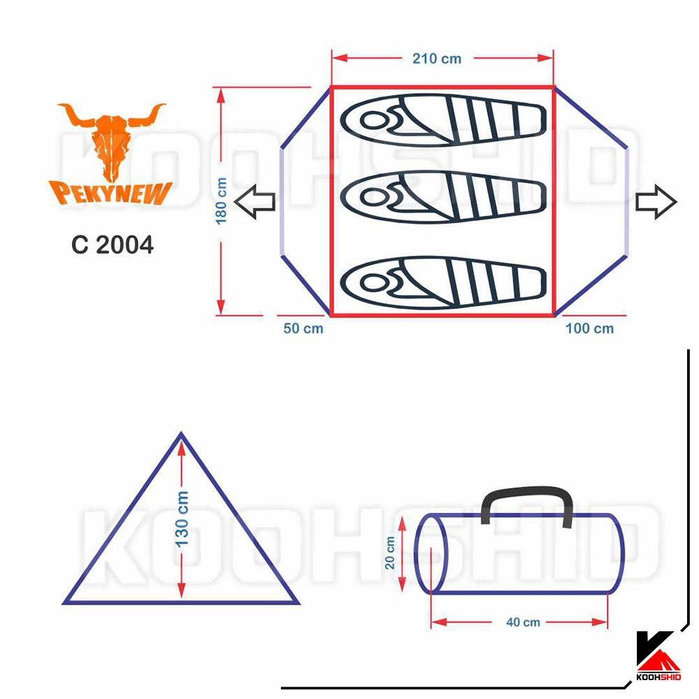 مشخصات چادر دوپوش ضد آب کوهنوردی 3تا4 نفره اورجینال کله گاوی مدل Pekynew C2004