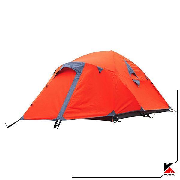 چادر کوهنوردی کله گاوی مدل K2019 رنگ نارنجی، سه نفره دارای سه تیرک آلومینیومی. وزن 3 کیلو گرم