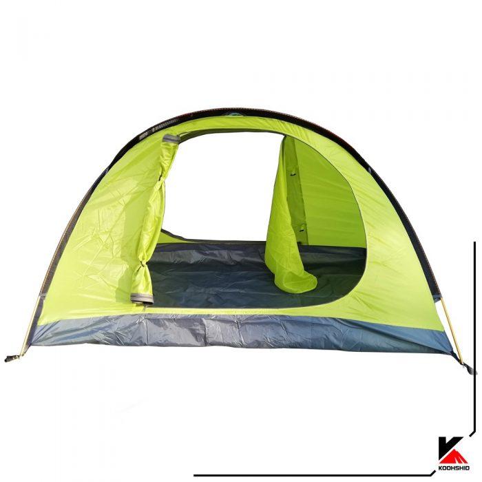 درب های پوش اول چادر کوهنوردی کله گاوی دو نفره مدل K2009. دارای دو تیرک آلومینیومی با وزن2 کیلو800 گرم. رنگ سبز