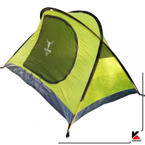 پوش اول چادر کوهنوردی کله گاوی دو نفره مدل K2009. دارای دو تیرک آلومینیومی با وزن2 کیلو800 گرم. رنگ سبز