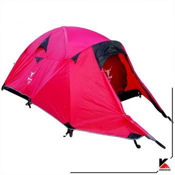 چادر کوهنوردی کله گاوی مدل K2019 رنگ قرمز، سه نفره دارای سه تیرک آلومینیومی. وزن 3 کیلو گرم
