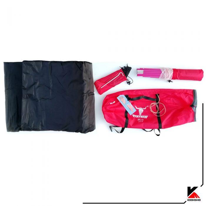 محتویات بسته بندی چادر کوهنوردی کله گاوی مدل K2019 سه نفره دارای سه تیرک آلومینیومی. وزن 3 کیلو گرم