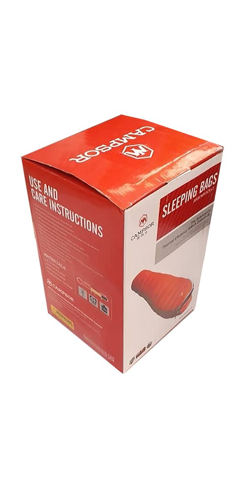 بسته بندی کیسه خواب کمپسور رنگ قرمز طوسی با وزن1200 گرم