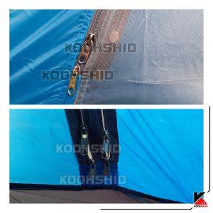 زیپ های پوش اول چادر دوپوش ضد آب کوهنوردی 2تا3 نفره اورجینال کله گاوی مدل Pekynew C2001B آّبی