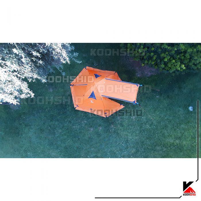 عکس از بالا پوش دوم چادر دوپوش ضد آب کوهنوردی 2تا3 نفره اورجینال کله گاوی مدل Pekynew C2001B رنگ نارنجی