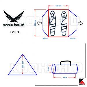 مشخصات چادر دوپوش ضد آب کوهنوردی 2 تا 3 نفره اورجینال اسنوهاک مدل Snow hawk T2001