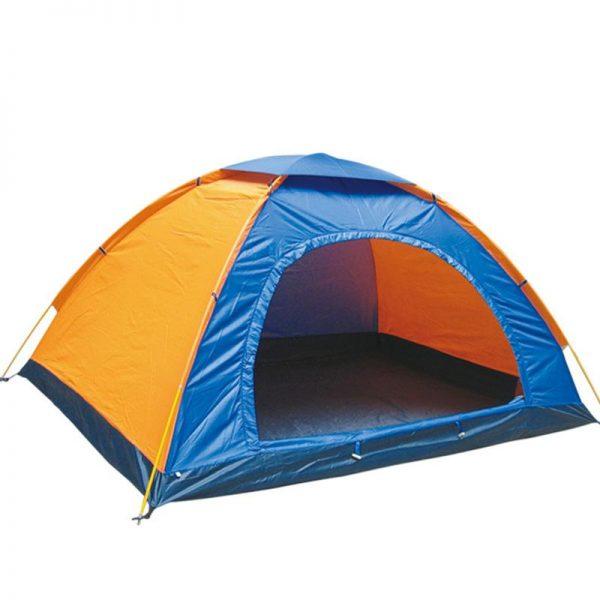 چادر کوهنوردی زرد آبی در زمینه سفید