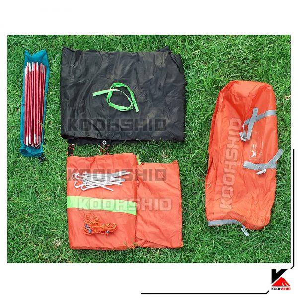 اجزای کامل بسته بندی چادر کوهنوردی 2 نفره اسنوهاک مدل Snow hawk T2003 سبز نارنجی