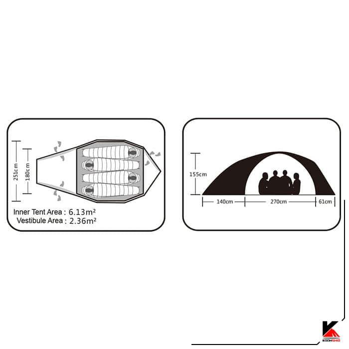 چادر دوپوش 4-5 نفره کایلاس مدل X4II Alpine