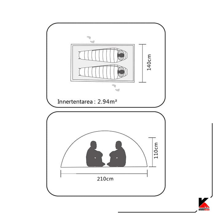 چادر دو پوش کمپینگ 2 نفره کایلاس مدل Zenith III Camping Tent 2P